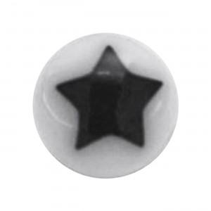 Boule Piercing Acrylique Etoile Astrale Noire / Blanc