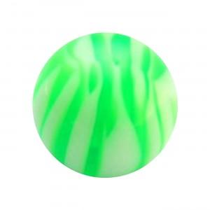 Boule Piercing Acrylique Zébrée Vert / Blanc