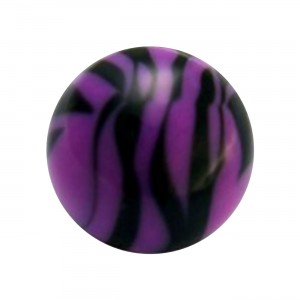 Boule Piercing Acrylique Zébrée Violet / Noir