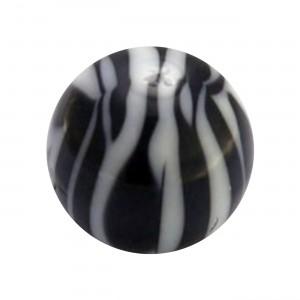 Boule Piercing Acrylique Zébrée Blanc / Noir
