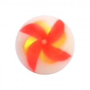 Boule de Piercing Acrylique Moulin à Vent Orange / Jaune