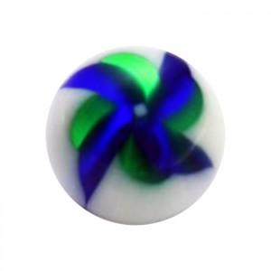 Boule de Piercing Acrylique Moulin à Vent Bleu / Vert