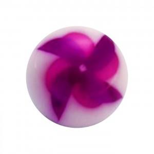Boule de Piercing Acrylique Moulin à Vent Violet / Rose