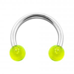 Piercing Herradura Acrílico Verde Transparente Bolas