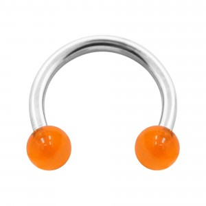 Piercing Herradura Acrílico Naranja Transparente Bolas