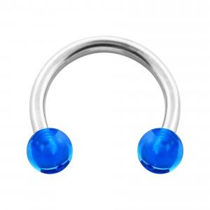 Piercing Fer à Cheval Acrylique Transparent Bleu Foncé Boules