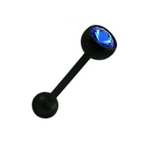 Piercing Langue Bioflex Noir Strass Bleu