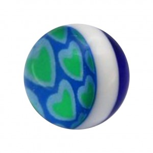 Green/Blue Several Hearts Acrylic UV Belly Piercing Only Ball