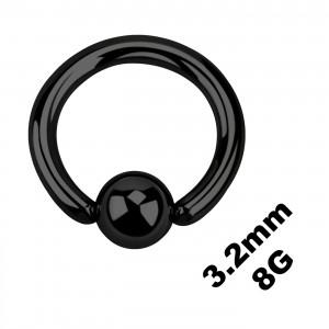 Grueso Piercing Anillo Genital / BCR Anodizado Negro 3.2 mm / 8 G