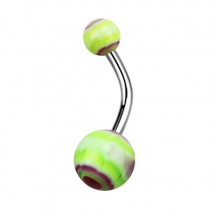 Green/Purple Acrylic Aztec Belly Bar Navel Button Ring