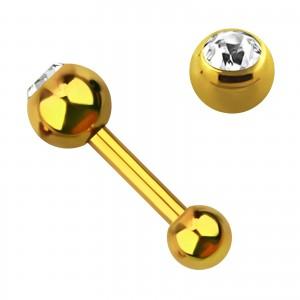 Piercing Knorpel Eloxiert Gold Kugel 4 mm Strass Weiß