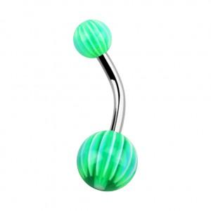Blue/Green 32 Faces Acrylic Belly Bar Navel Button Ring
