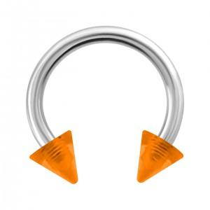 Piercing Hufeisen Acryl Orange Transparent Spitzen