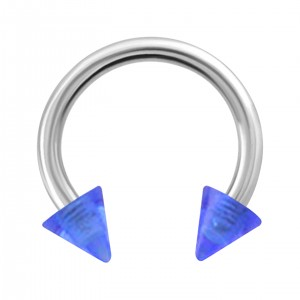 Spikes Transparent Dark Blue Acrylic Circular Barbell