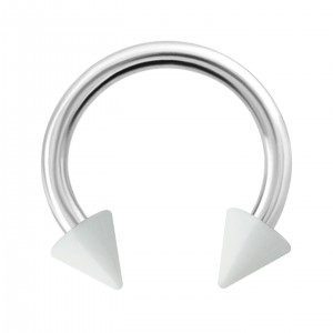 Spikes Opaque White Acrylic Circular Barbell Ring