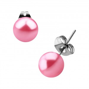 Boucles Oreilles Stud Boules Fausse Perle Rose
