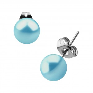Boucles Oreilles Stud Boules Fausse Perle Turquoise