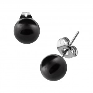 Black Fake Pearl Balls Earrings Ear Stud Pair