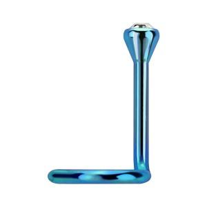 Piercing Nariz Titanio Grado 23 Anodizado Azul Claro Strass Blanco