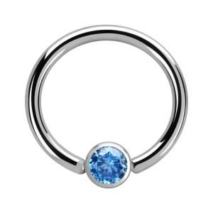 Piercing Anneau CBR Acier Chirurgical 316L Zircone Bleu