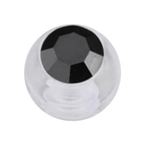 Boule Piercing Acrylique Transparent Strass Noir