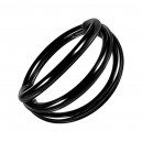 Black Anodized Three Bars Clicker Ring with Hinge