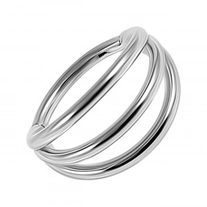Metallized Three Bars Clicker Ring with Hinge