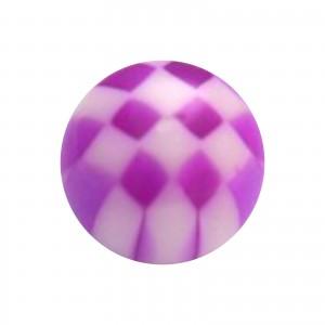 Boule Piercing Acrylique Transparente Damier Violet