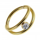 White Strass Gold Anodized Two Bars Clicker Hinged Ring