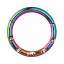 Piercing Anneau Clicker Anodisé Multicolore 5 Strass Blancs Incrustés