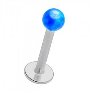 Piercing Lèvre / Labret Acier 316L Opale Synthétique Bleue