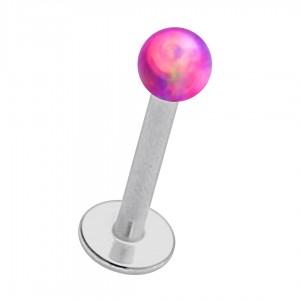 Piercing Lèvre / Labret Acier 316L Opale Synthétique Violette