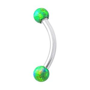 Piercing Arcade Acier 316L Opale Synthétique Verte