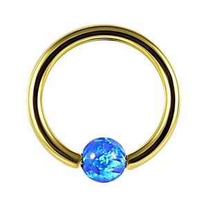 Piercing Anneau BCR Anodisé Doré Opale Synthétique Bleue