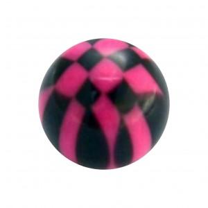 Boule Piercing Acrylique Damier Noir / Rose