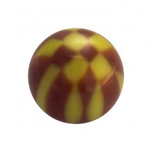 Boule Piercing Acrylique Damier Marron / Jaune
