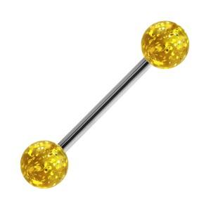 Yellow Transparent Big Flakes Acrylic Tongue Bar Ring