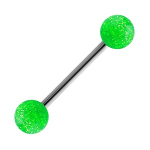 Piercing Lengua Acrílico Grandes Lentejuelas Transparente Verde