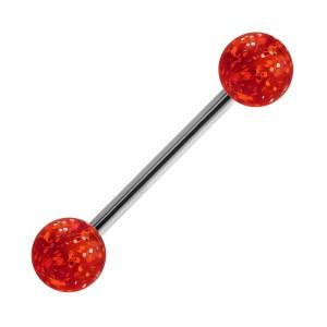 Red Transparent Big Flakes Acrylic Tongue Bar Ring