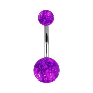 Piercing Nombril Acrylique Boules Paillettes Transparent Violet