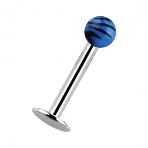 Piercing Labret / Lèvre Acrylique Zèbre Noir / Bleu