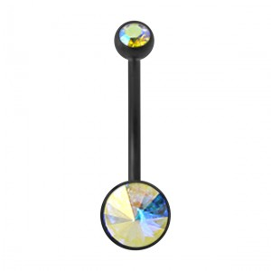 Black Bioflex Belly Button Ring w/ 19mm Bar and Two Light Rainbow Strass