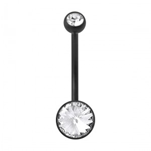 Black Bioflex Belly Button Ring w/ 19mm Bar and Two White Strass