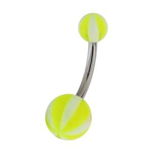 Green 8 Faces Ball Acrylic Navel Bar Belly Button Ring