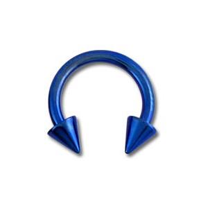 Piercing Tragus / Oreille Titane Grade 23 Anodisé Bleu Marine Deux Piques