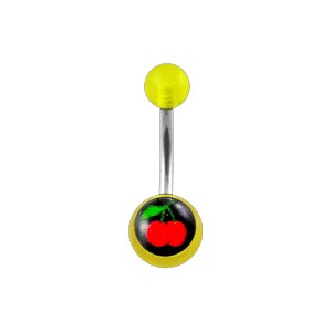 Transparent Yellow Acrylic Belly Bar Navel Button Ring w/ Cherries