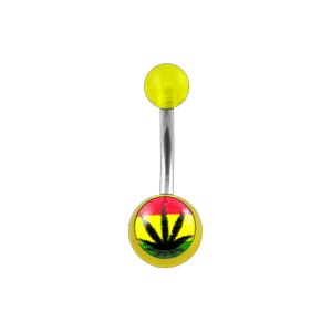 Piercing pas cher Nombril Acrylique Transparent Jaune Cannabis