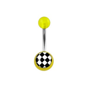 Piercing pas cher Nombril Acrylique Transparent Jaune Damier