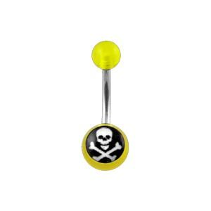 Piercing barato Ombligo Acrílico Transparente Amarillo Cráneo