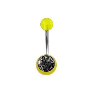 Bauchnabelpiercing Acryl Transparent Gelb Spirale